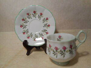 Rosina Bone China Teacup And Saucer Pink Flower With Leafs Light Green Trim