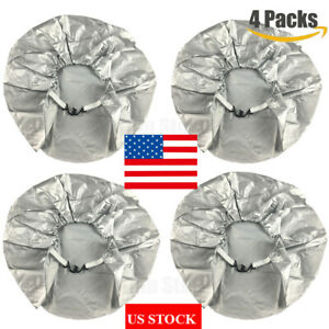 28inch Tire Covers Set Of 4 Grey Wheel Tyre Covers For Auto Truck Trailer Camper