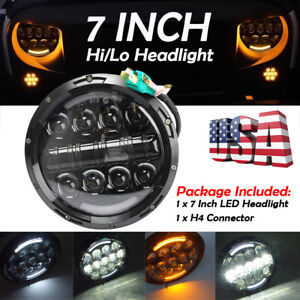 7 105w Round Led Headlight Hi Lo Beam Bulb Drl For Jeep Wrangler Jk Tj Black