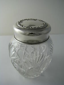 Sterling Silver Cut Crystal Powder Jar Silver Lid Ginger Jar By Whiting Ca1893