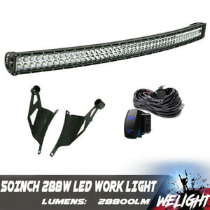 54inch Curved Led Light Bar Offroad Roof Brackets For 2004 2014 Ford F150 52