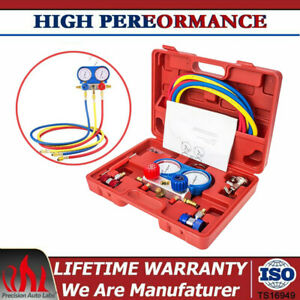 Hvac A c Refrigeration Kit Ac Manifold Gauge Set Brass R134a Auto Cars Service