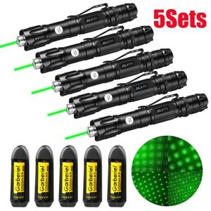 5x Military Green Laser Pointer Pen 1mw 50miles Beam Light 18650 Battery charger