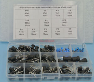 200pcs Inductor Choke Assorted Kit 12values 4 7uh 10mh