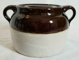 Vintage Stoneware 2 Tone Honey Pot With Lid Brown Tan Old Collectible Piece