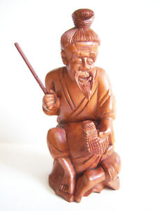 Chinese Exquisite Hand Carved Old Man Carving Carving Boxwood Statue