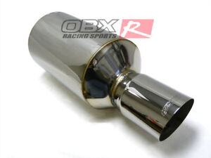 Obx R 3 0 Stainless Steel Howitzer Evo Style Muffler W Slant Cut Tip