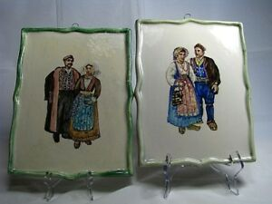 2 Hand Painted Faience Porcelain Plagues Tiles Muti Color By Cardel Italy C1960s