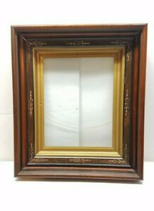 Vintage Antique Gold Gilt Deep Picture Painting Frame Eastlake Shadow Box Walnut