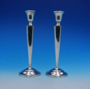 Redlich And Co Sterling Silver Candlestick Pair 10 3 4 Tall 2503 3246