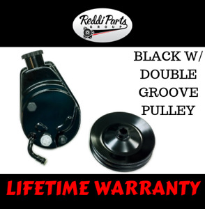 Bbc Sbc Chevy Black Saginaw Style Power Steering Pump W Double Groove Pulley