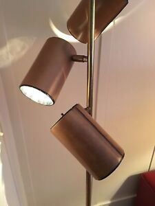 Vintage Midcentury Koch Lowy Leather Covered 3 Way Canister Floor Lamp Omi
