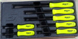 New Snap On 7 Piece Hi Vis Yellow Hard Handle Screwdriver Set Sddx70ahv