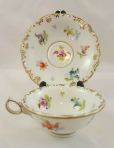 Saxonia China Floral Demitasse Cup And Saucer
