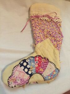 Small Child S Antique Vintage Cutter Quilt Christmas Stocking Purple Flowers