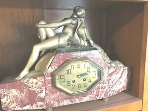 Wow Art Deco Lady Peacock Clock Marble Spelter Rare