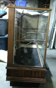 Vintage Oak Glass Show Case
