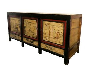 1661 101 Vintage Paint Decorated Asian Chinoiserie Credenza Buffet Cabinet