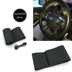 Black Soft Genuine Leather Diy Car Steering Wheel Cover With Needles And Thread