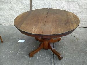 Antique Oak 42 Round Dining Table Expandable