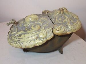 Rare Antique 1800 S French Enameled Cast Iron Fireplace Coal Scuttle Bin Bucket
