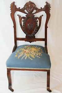 Exquisite Antique Victorian Carved Wooden Parlor Side Chair Needlepoint Seat Exc