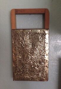 Large Early Old Antique Hand Punched Gold Tin Grater Hanging Handle Aafa