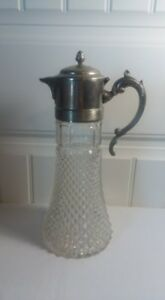 Antique Silver Plate Lead Crystal Tall Serving Decanter Carafe Pitcher