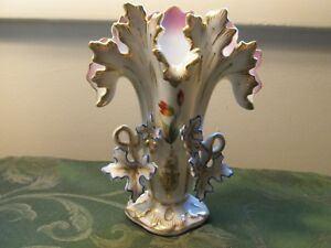 Old Paris Vieux Porcelain 7 Spill Or Fan Vase Leaves Handles Lovely Antique