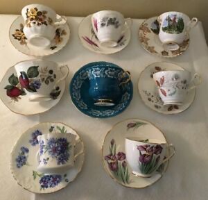 Vintage Mismatched China Tea Cup Saucer Sets Lot Of 8 Showers Tea Party Collects
