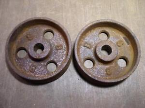 Antique Vintage Castiron Metal Swivel Wheels Hardware