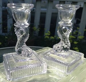 Vintage Pair Cambridge Clear Glass Dolphin Or Koi Fish Nautical Candlestick