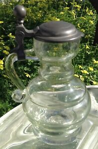 Antique Blown Heavy Glass Syrup Pitcher Pewter Lid Pouring Spout