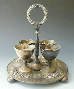 Antique Vintage Js S Silver Plated Egg Cup Stand Or Cruet Set With 4 Eggcups
