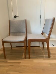 K D Furniture Teak Mid Century Modern Mcm Two Dining Chairs