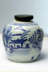 Antique Chinese Ginger Jar Blue White Porcelain