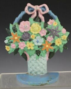 Vintage Cast Iron Spring Floral Bouquet Flower Basket Doorstop