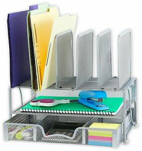 Mesh Desk Organizer With Sliding Drawer Double Tray 5 Upright Sections Silver