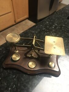 Vintage Brass Wood Postal Scale Made In England With 3 Brass Weights