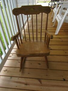 Vintage Childs Wooden Rocking Chair W Stencil Detail Possibly Pear And Peas