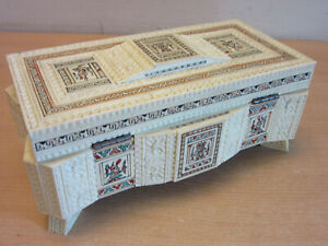 Vintage Ornate Mano Quito Ecuador Tiled And Carved Painted Dresser Jewelry Box