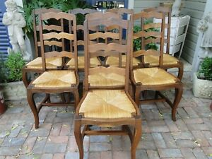 Antique French Farm Dining Chairs Rush Seats Carved Tall Ladder Back Stretchers