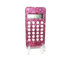 Bling Crystallized Pink Pocket Size Calculator Mini Made With Swarovski Crystals