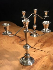 Pair Of Vintage Gorham 808 1 Weighted Sterling Silver 3 Candle Candelabra