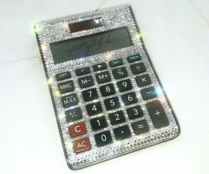 Custom Crystallized Desktop Calculator Office Work Bling With Swarovski Crystals