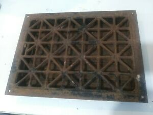 Vintage Rusty Metal Heat Air Register Wall Floor Grate Vent With Louvers 12 X 16