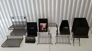 Wire Mesh 3 Layer Letter Trays Dividers desk Organizers Flyer Stands black