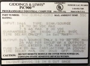 Giddings Lewis Plcs Pic900 Input output Combo 24 Vdc 502 03842 00 R0