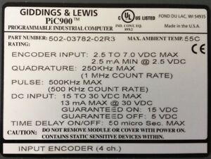Giddings Lewis Plcs Pic900 Input Encoder 4 Channels 502 03782 02 R3
