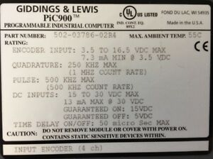 Giddings Lewis Plcs Pic900 Input Encoder 4 Channels 502 03786 02 R4
